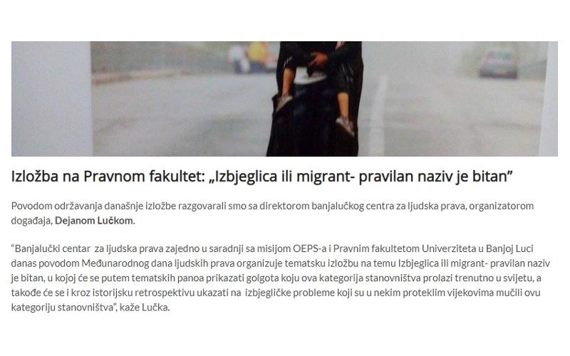 Izlozba na Pravnom fakultetu (Izbjeglica ili migrant - pravilan naziv je bitan)