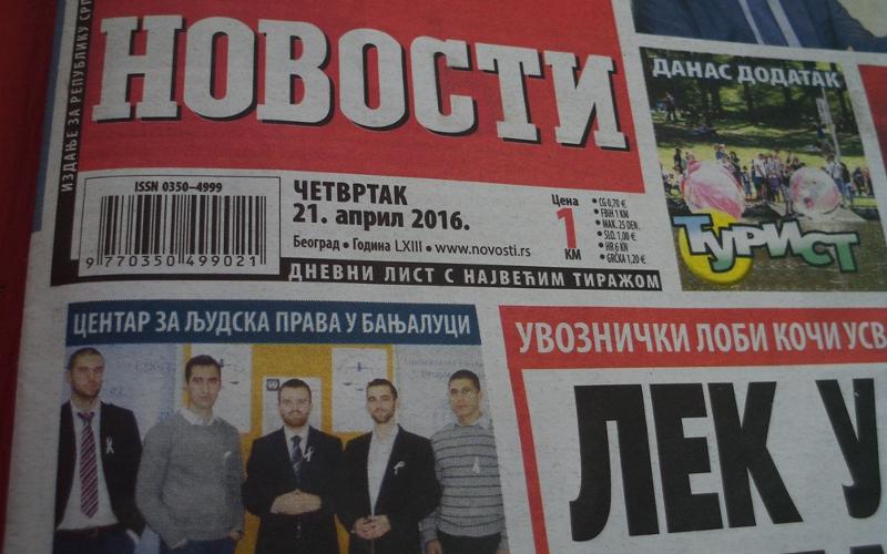Vecernje novosti - Centar za ljudska prava u Banjaluci