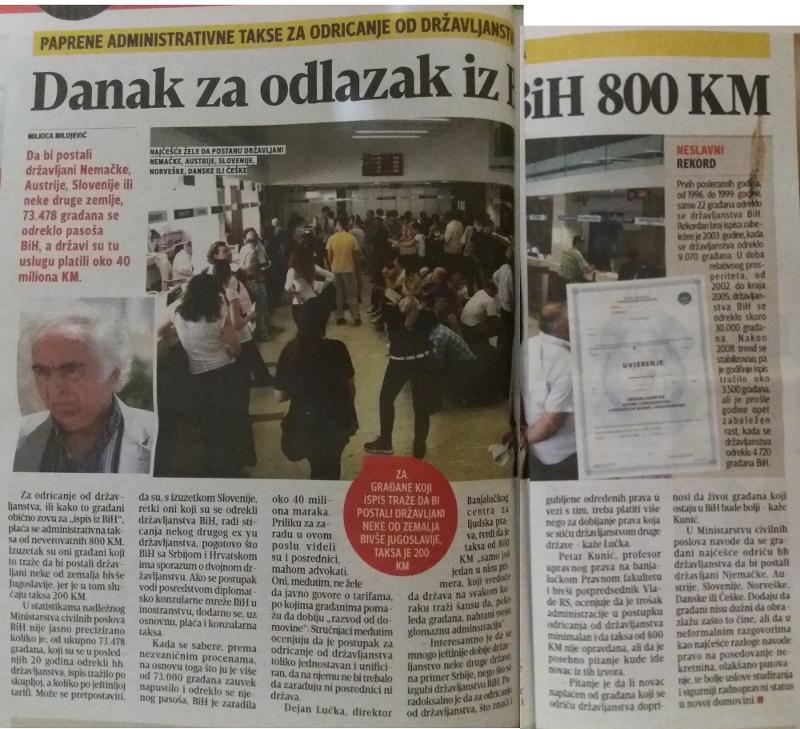 Želite da se odreknete državljanstva BiH - štampano izdanje