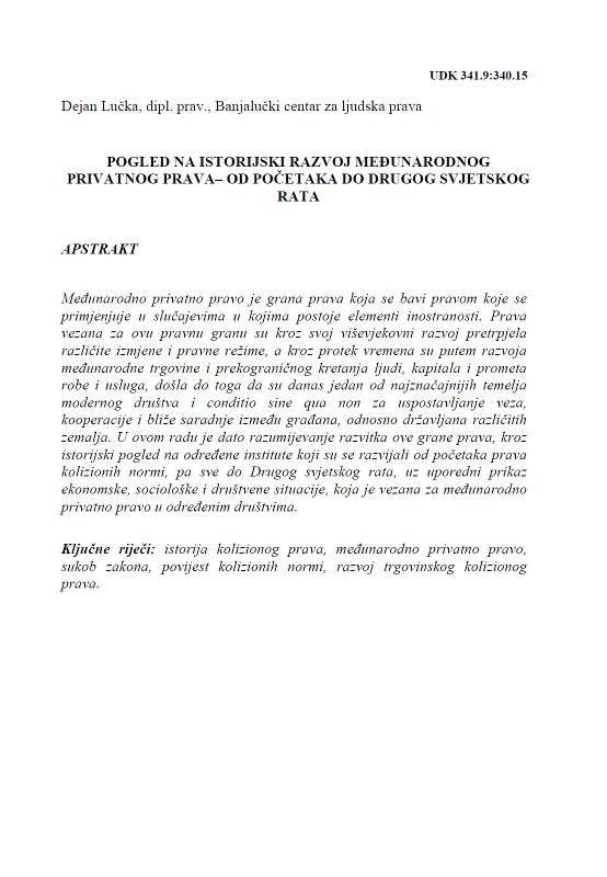 Pogled na istorijski razvoj Međunarodnog privatnog prava - Dejan Lučka